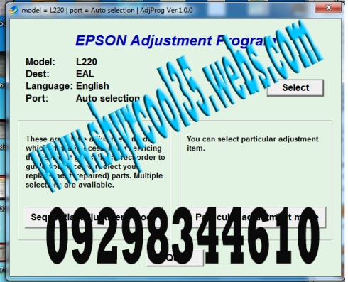 Epson L220 Adjustment Program / Resetter